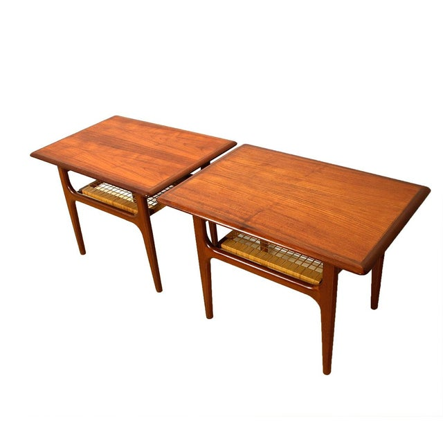 Vintage Danish Teak & Cane Accent Tables - A Pair - Image 1 of 5