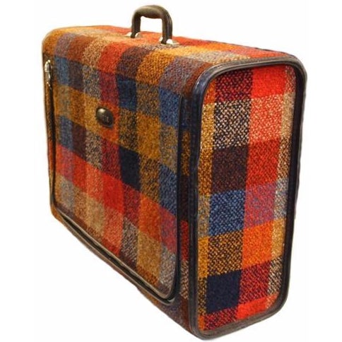 Vintage Bright Chenille Skyway Suitcase - Image 1 of 10
