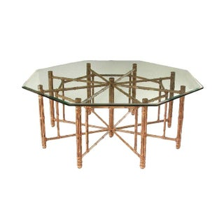 McGuire Reeded Bamboo Octagonal Dining Table