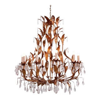 Very Huge Gilt Metal and Crystal Glass Chandelier in the Manner of Hans Kögl