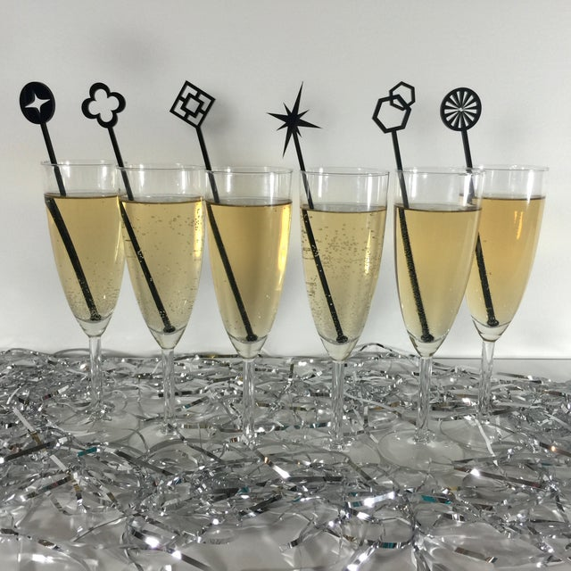 Geometric Black Drink Stirrers - Set of 6 - Image 3 of 7