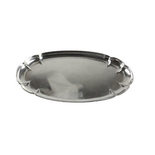 The Kalo Shop Sterling Silver Hand Wrought Modernist Scalloped Oval Tray #38-10