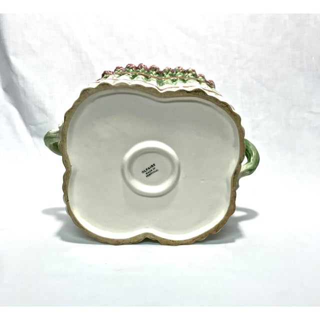 Portuguese Majolica Ceramic Asparagus Handled Container - Image 8 of 8