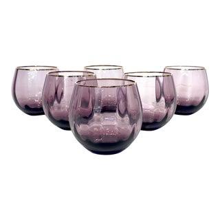 Gold Trim Purple Glass Cordials- Set of 6