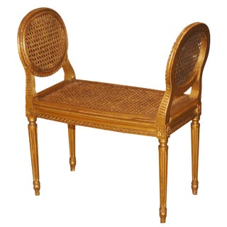Giltwood Caned Window Seat