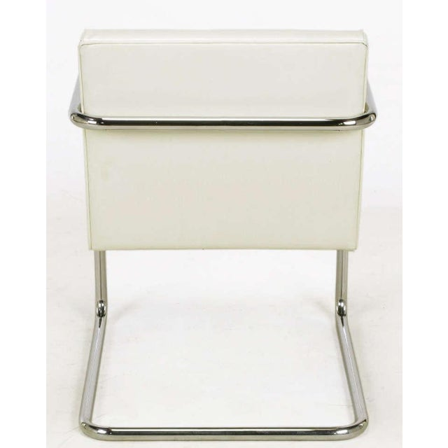 Image of Four Thonet White & Chrome Cantilever Dining Chairs