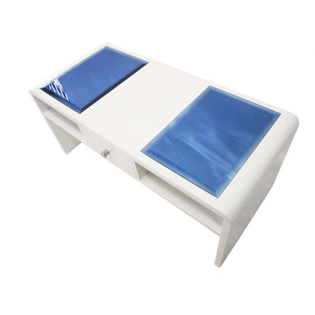 Image of Waterfall Coffee Table with Blue Glass Panels