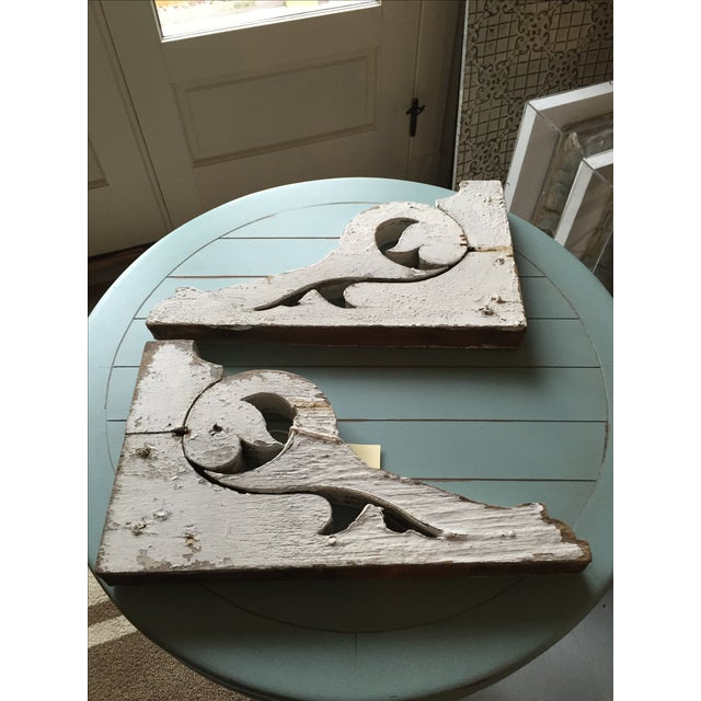 Distressed White Shelf Brackets- A Pair - Image 2 of 11