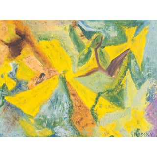 1965 Yellow & Green Abstract Painting