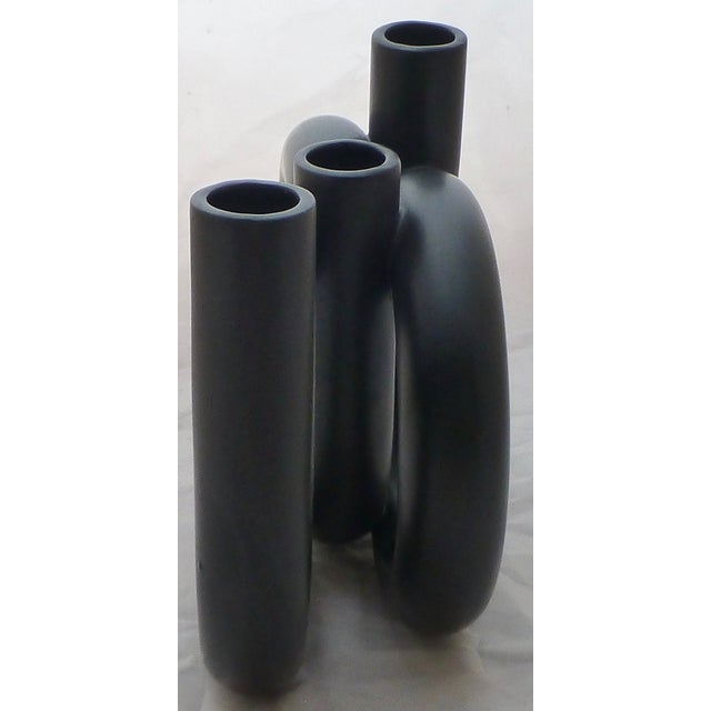 Vintage Black Triple Coil Ikebana Japanese Vase - Image 3 of 7