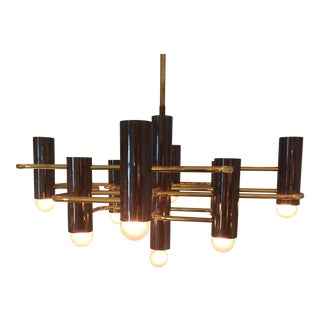 Sciolari Italian Brass & Black Metal Chandelier