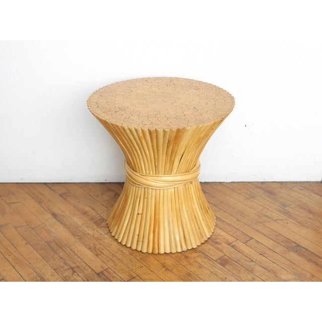 McGuire Wheat Sheaf Side Table- Rattan and Bamboo End Table - Image 4 of 6