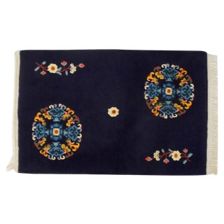 Tibetan Hand Knotted Blue Floral Rug - 2′5″ × 3′11″
