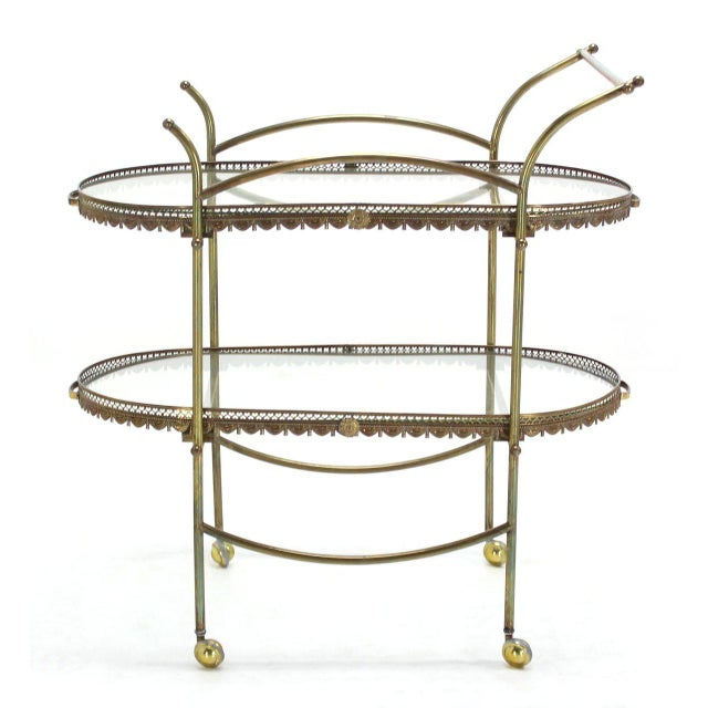 Two-Tier Brass Serving Cart Table with Removable Trays - Image 2 of 10