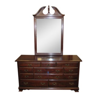 Vintage Cherry Dresser With Mirror