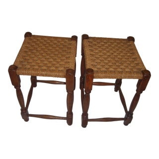 Country French Oak Stools - A Pair