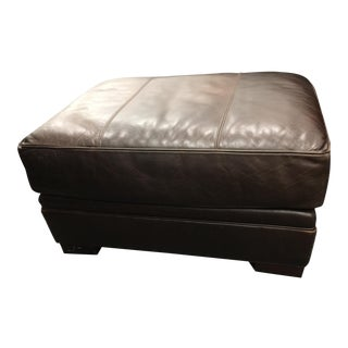 Lee Coffee Leather Ottoman