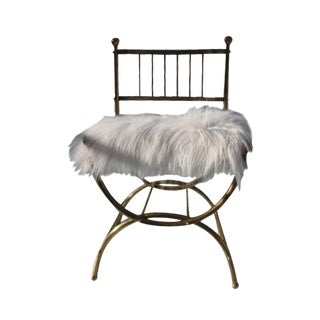 Italian Faux Mongolian Fur Accent Chair