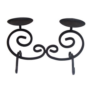 Vintage Black Wrought Iron 2 Candle Holder