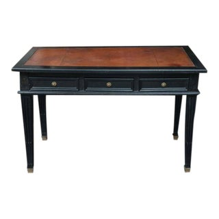 Ebonized Three drawer Bureau Plat with embossed leather top, French circa 1880