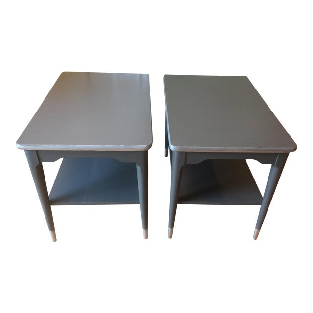 Mid-Century Gray & Silver End Tables - A Pair - Image 1 of 5