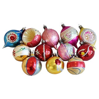Mid Century Fancy Christmas Ornaments w/Box - Set of 12