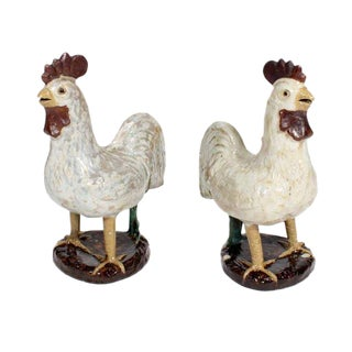 Pair of French Country Terra Cotta Folk Art Pottery Roosters