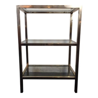 Contemporary Three-Tier Glass & Chrome Shelving Unit