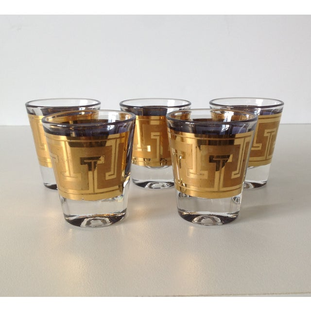 "Gilt ""Greek Key"" Shot Glasses - Set of 5 - Image 3 of 6"