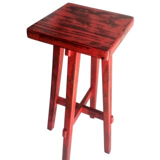 Hand Made Distressed Red Square Bar Stool