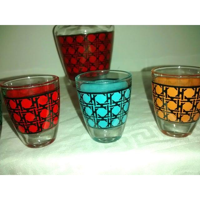 Image of Vintage French Decanter & Shot Glasses Set