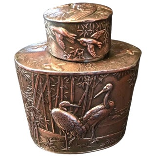 Crane Motif Bronze Tea Caddy