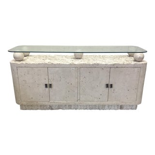 Maitland-Smith Tessellated Stone & Glass Credenza