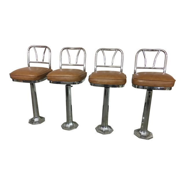 Chrome Soda Fountain Bar Stools - Set of 4 - Image 1 of 9