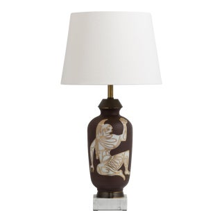A Single Neoclassical Style Glazed Ceramic Table Lamp 1950s