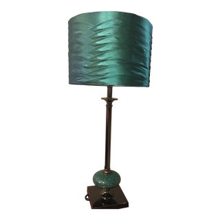 Deep Teal Buffet Lamp With Pleated Shade