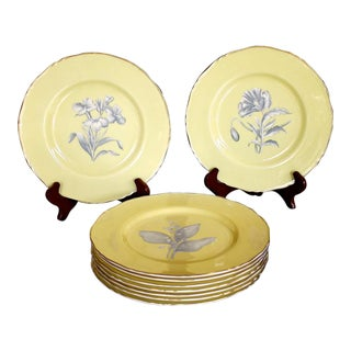 Royal Worcester Yellow Botanical Dessert Plates - Set of 18