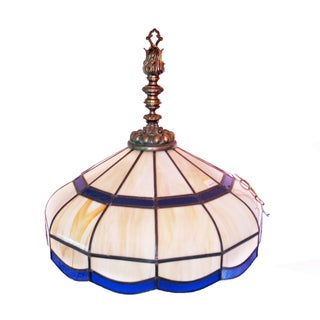 Vintage Large Stained Glass Ceiling Light