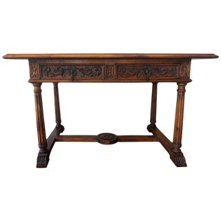 19th Spanish Refectory Table with Two Drawers, Desk Table