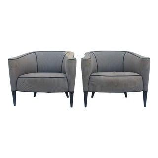Mid-Century Modern Barrel Back Club Chairs - A Pair