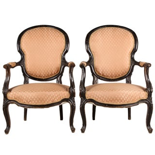 1860s French Rococo Style Armchairs - A Pair
