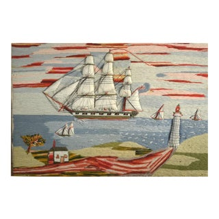English Sailor's Trapunto Woolwork Picture of Ships off Coast with Lighthouse