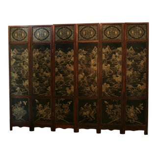 A Chinese Hardwood, Lacquer and Jade Six Panel Screen