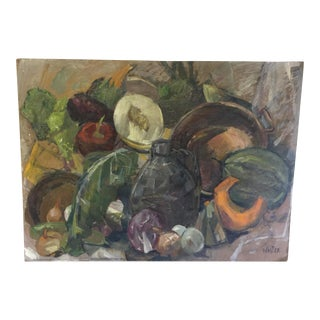 French Still-Life Oil on Board Painting