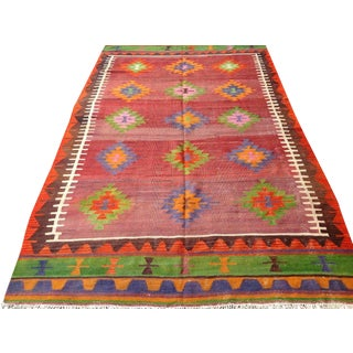 "Vintage Handwoven Turkish Kilim Rug - 6'7"" x 11'1"""