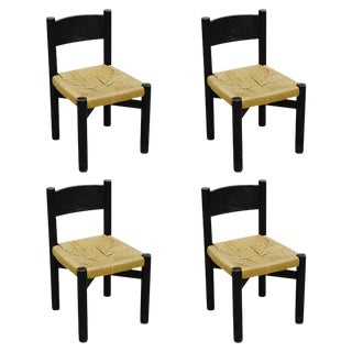 Rare Set of Four Black Chairs by Charlotte Perriand for Meribel, circa 1950