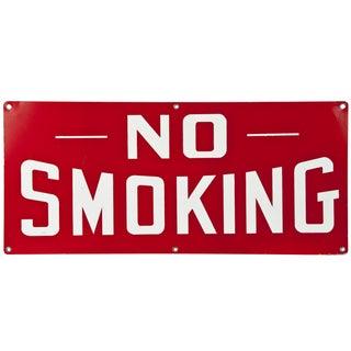 Vintage Red Metal Sign: No Smoking