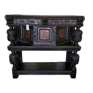 Antique English Elizabethan 17thC Oak Court Cupboard