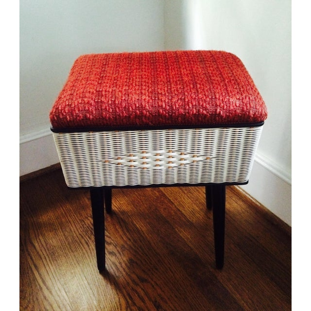 Image of Vintage Sewing Basket With Pencil Legs