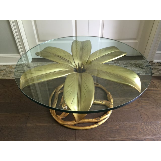 Arthur Court Vintage Gilt Lilly Base Coffee Table - Image 3 of 7